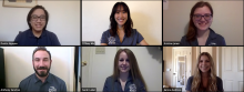 Screenshot of six students in a Zoom meeting.