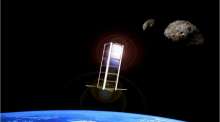 Illustration of a CubeSat in space
