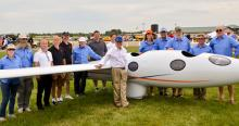 Ed Warnock, front, and the Perlan crew exhibit their glider at the Experimental Aircraft Association AirVenture show in July 2015 at Wittman Regional Airport in Oshkosh, Wisconsin; photo courtesy of Ed Warnock