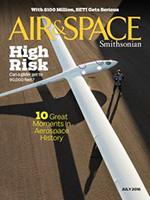 Cover of July 2016 Smithsonian Air & Space Magazine featuring the Perlan glider