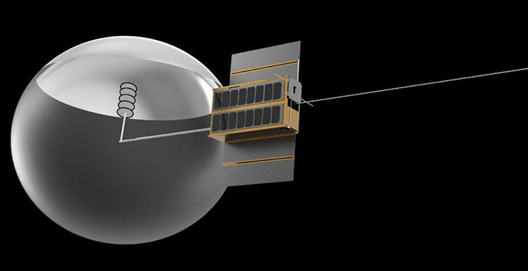 Computer-generated rendering of a CubeSat, a small satellite with a dish antenna