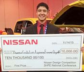 Sophomore Erasmo Quijada's team won the Nissan Design Competition at the 2015 SHPE national conference.