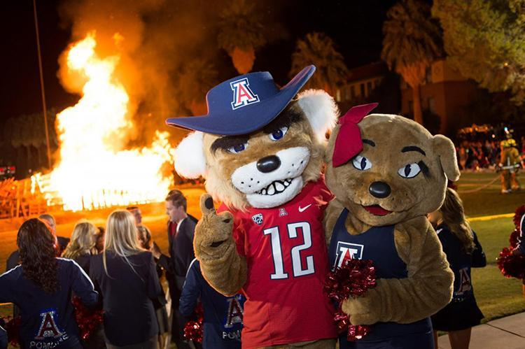 Wilbur and Wilma Wildcat and Homecoming bonfire