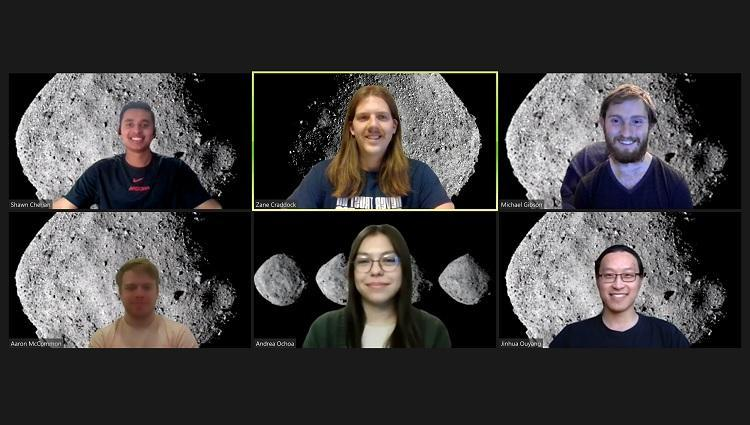 Screenshot of six students in a Zoom meeting. All of them have the asteroid Bennu set as their background.